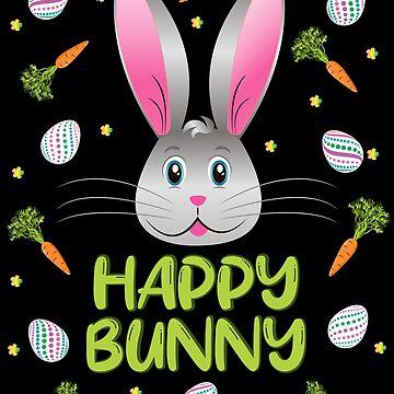 Happy Bunny Easter Rabbit Egg Hunt Funny Bunny Face by ZNOVANNA