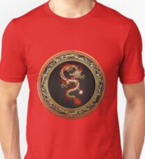Golden Chinese Dragon Fucanglong on Black  Unisex T-Shirt