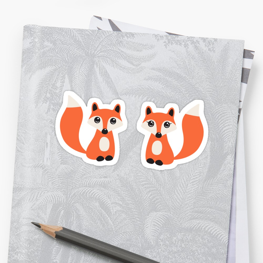 Quot Cute Fox Stickers Cartoon Illustration Of A Boy And Girl