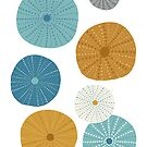 Sea Urchins in Blue + Gold by latheandquill