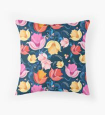 pattern of flowers tulips Throw Pillow