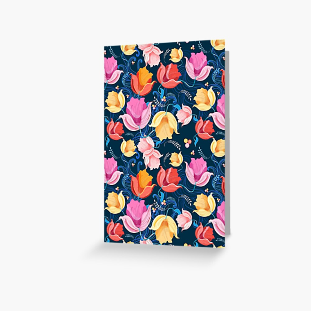 pattern of flowers tulips Greeting Card
