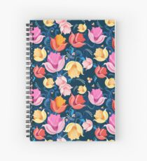 pattern of flowers tulips Spiral Notebook