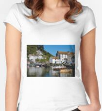 Polperro Harbour, Cornwall Women's Fitted Scoop T-Shirt