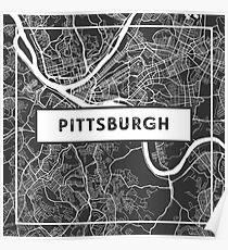 Straßenkarte von Pittsburgh, Pennsylvania Poster