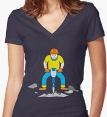 Construction worker with jackhammer Women's Fitted V-Neck T-Shirt