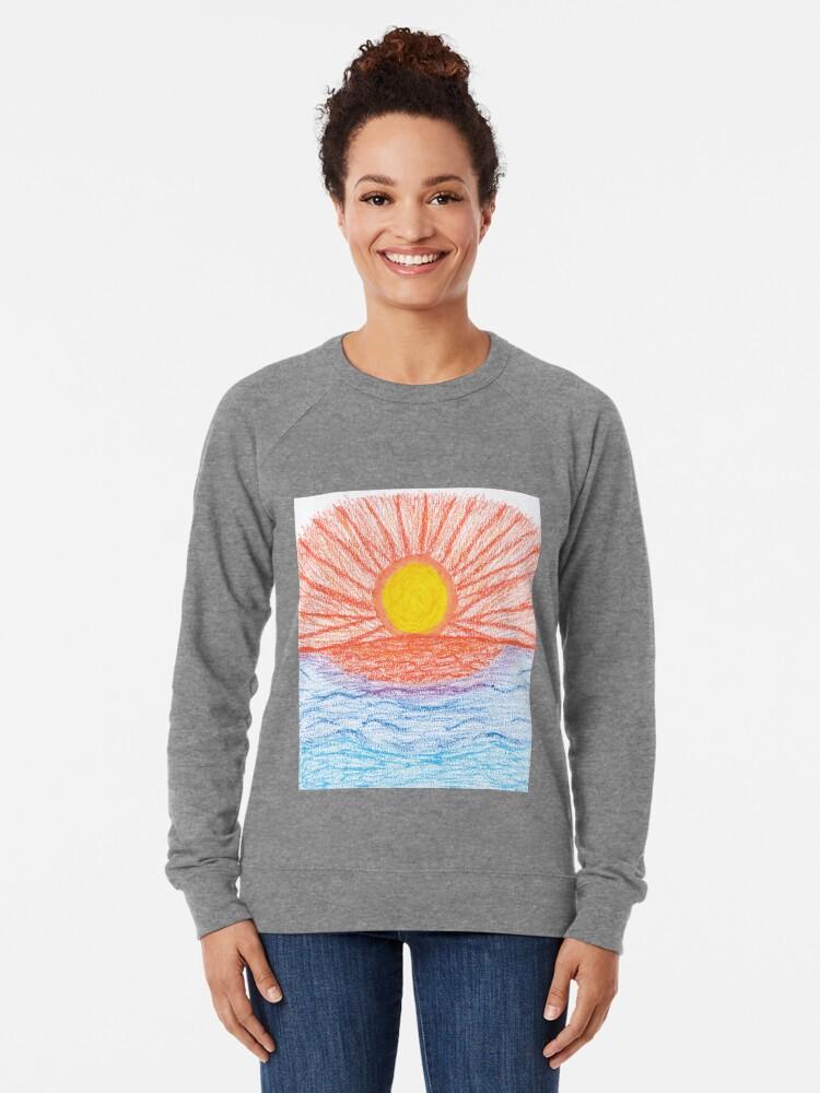 Alternate view of Merch #28 -- Sea Sunset Lightweight Sweatshirt