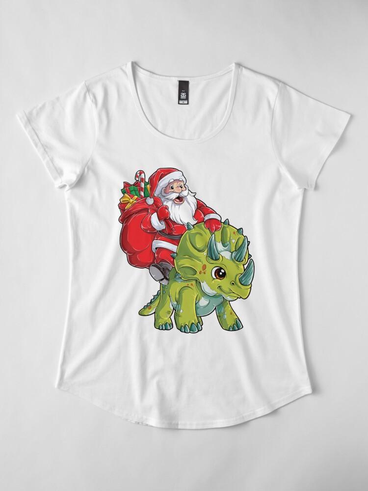 Alternative Ansicht von Weihnachtshemden für Jungen Santa Dinosaur Triceratops Gifts Premium Rundhals-Shirt