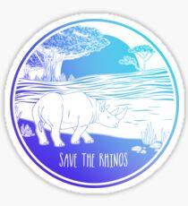Pegatina ¡Salva a los rinocerontes!