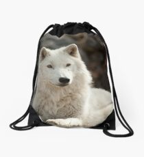 Arctic Wolf Drawstring Bag