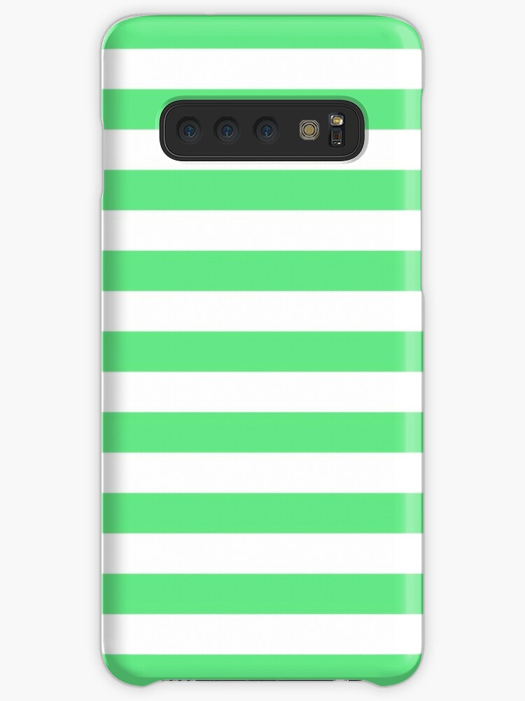 Algae Green and White Horizontal Beach Hut Stripes by honorandobey