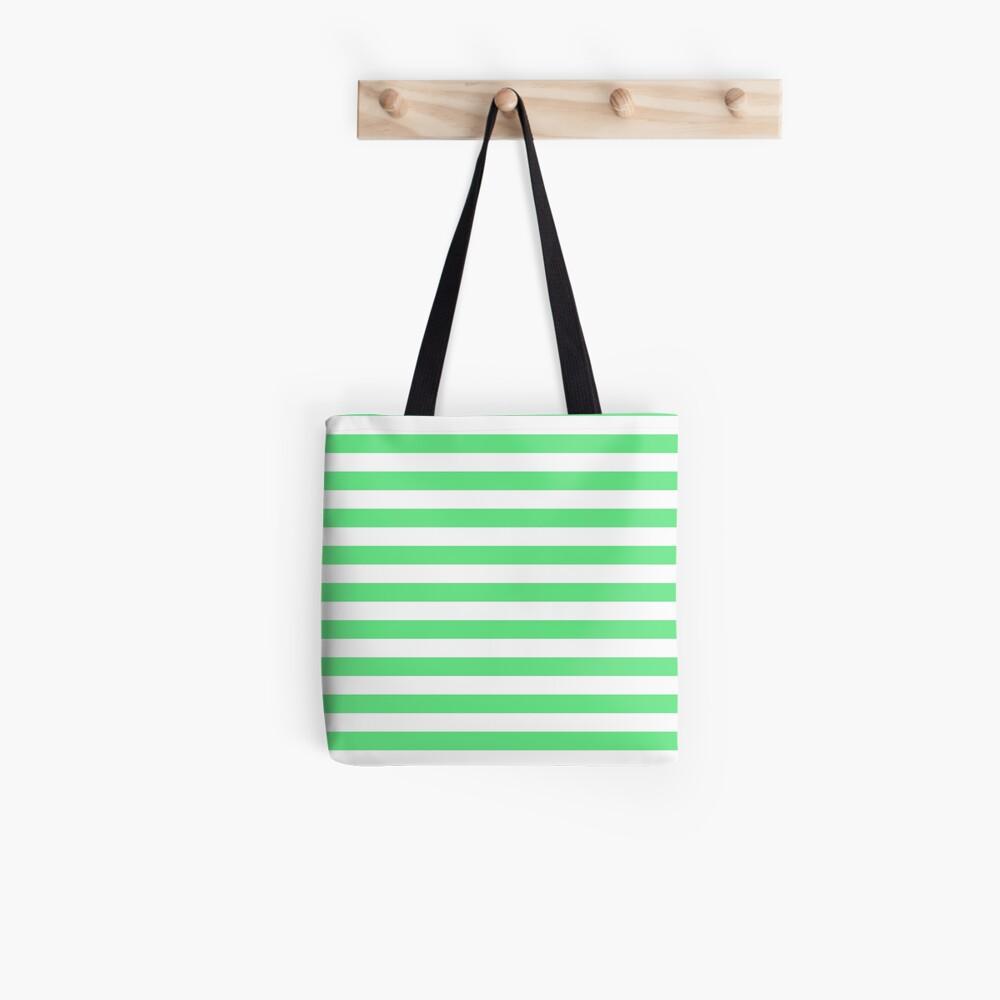 Algae Green and White Horizontal Beach Hut Stripes Tote Bag