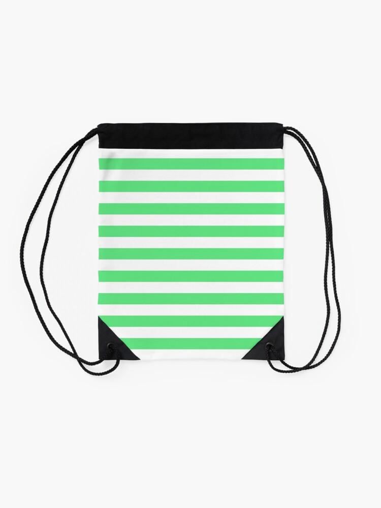 Alternate view of Algae Green and White Horizontal Beach Hut Stripes Drawstring Bag