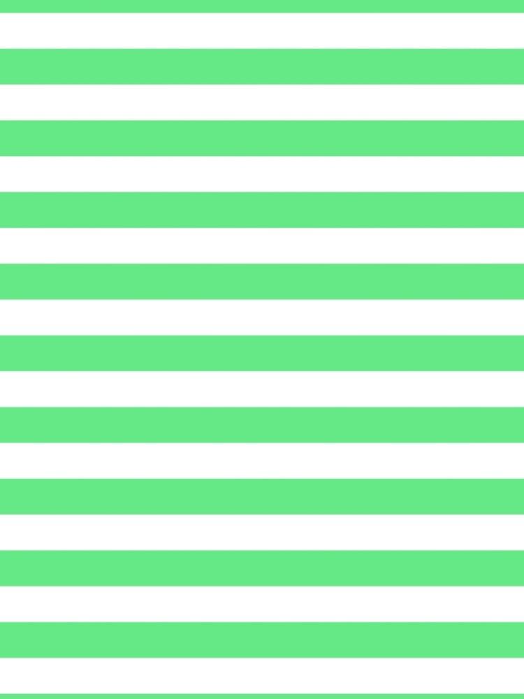 Algae Green and White Horizontal Beach Hut Stripes by honorandobey
