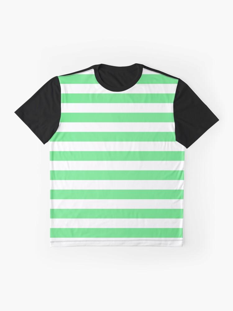 Alternate view of Algae Green and White Horizontal Beach Hut Stripes Graphic T-Shirt