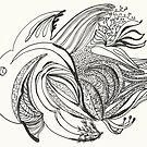 Fish Number 1, black & white, illustration, flying solo by Naquaiya
