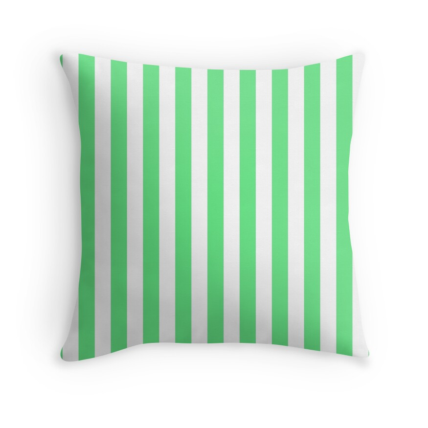 Algae Green and White Vertical Beach Hut Stripes