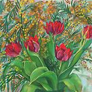 Mimosa and Red Tulips, Spring Flowers, Floral Art by clipsocallipso