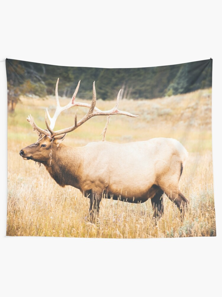 Forest Nature Animals Elk In Yellowstone National Park Wyoming Wall Tapestry