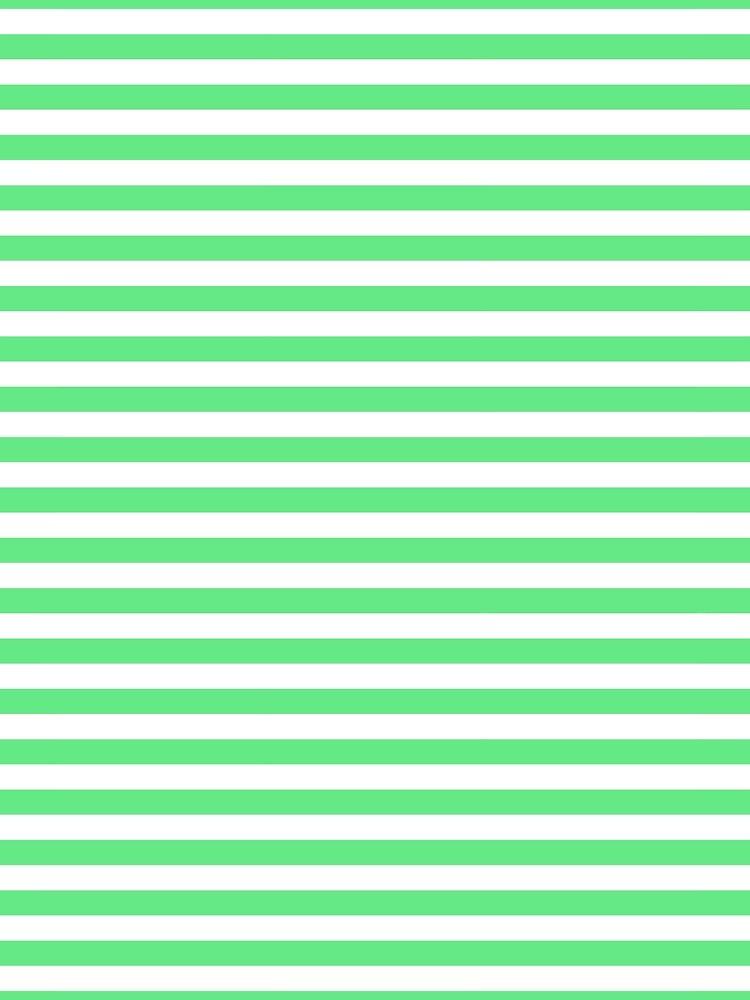 Algae Green and White Horizontal Deck Chair Stripes by honorandobey