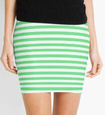 Algae Green and White Horizontal Deck Chair Stripes Mini Skirt