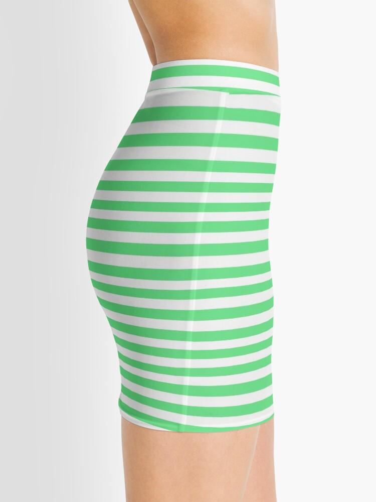 Alternate view of Algae Green and White Horizontal Deck Chair Stripes Mini Skirt