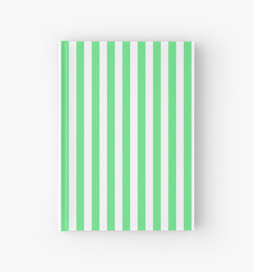 Algae Green and White Vertical Deck Chair Stripes by honorandobey
