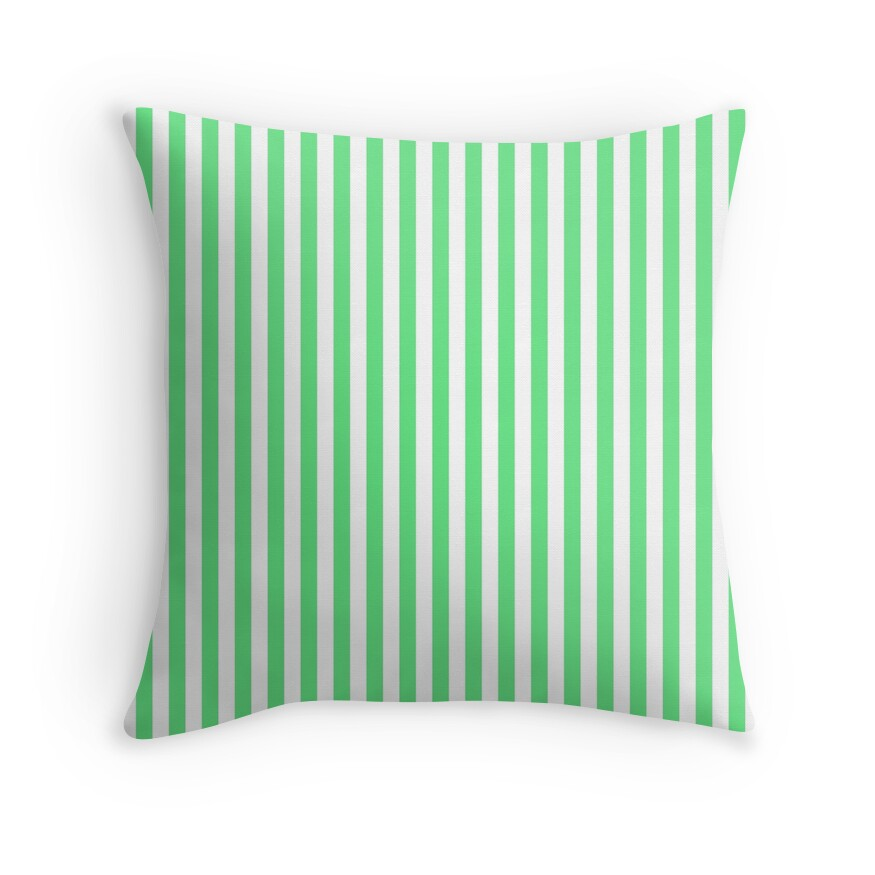 Algae Green and White Vertical Deck Chair Stripes