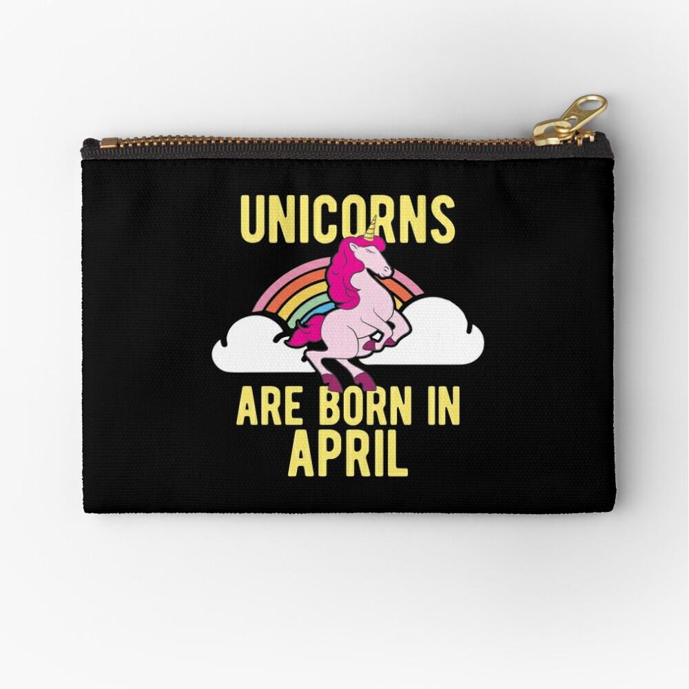 Unicorns Are Born In April Shirt Birthday Month Gift Tee Täschchen