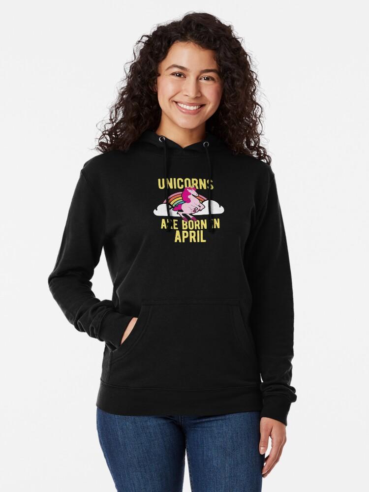 Alternative Ansicht von Unicorns Are Born In April Shirt Birthday Month Gift Tee Leichter Hoodie