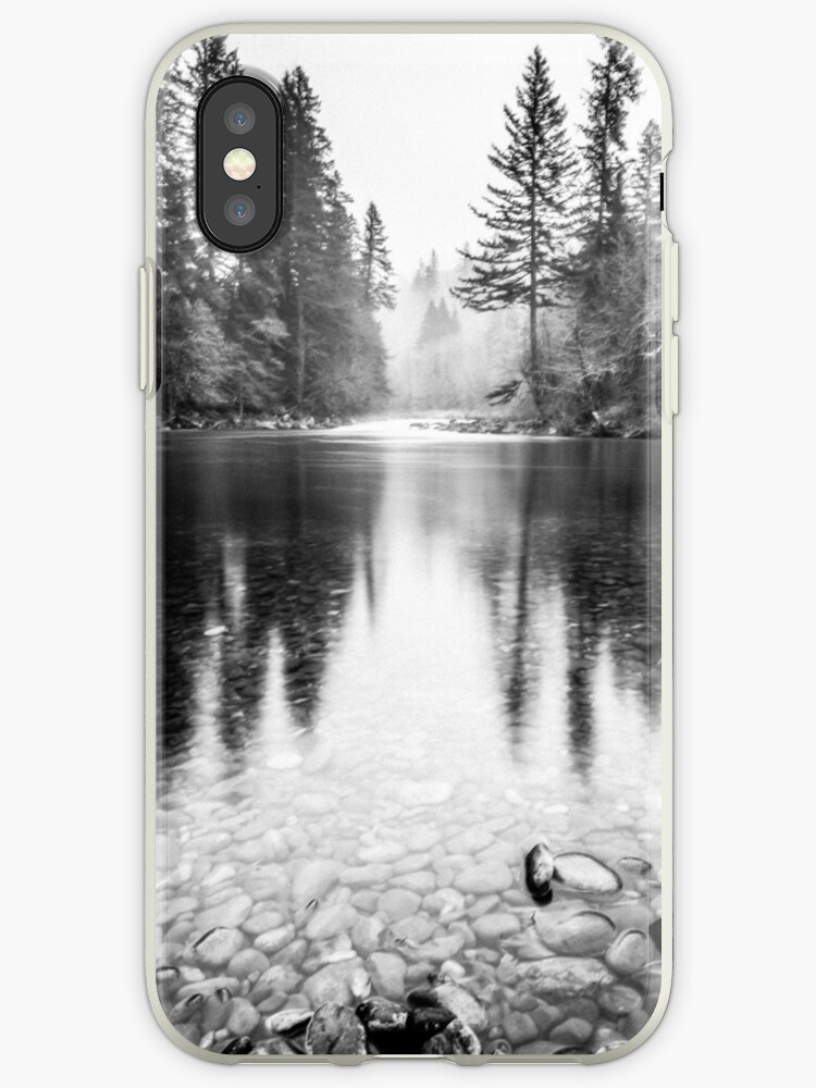 Forest Reflection Lake Black And White Nature Water Reflection Iphone Case By Artcascadia