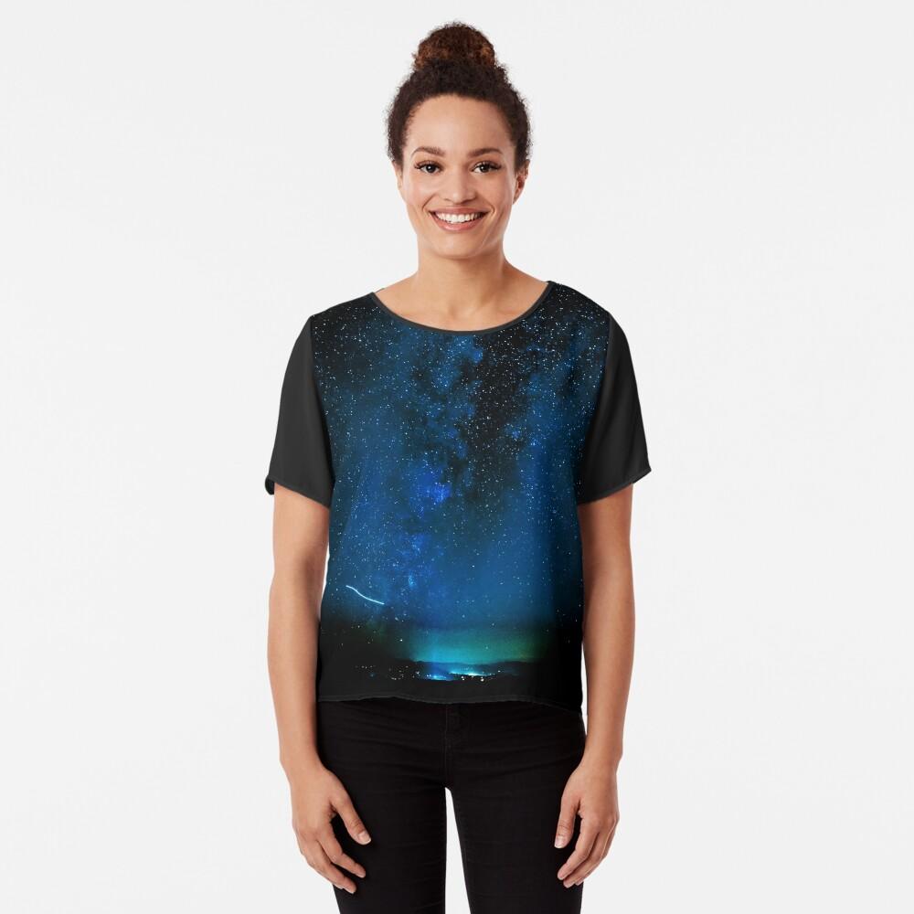 Stars and Space Night Sky - Blue Starry Milky Way in Arizona Chiffon Top