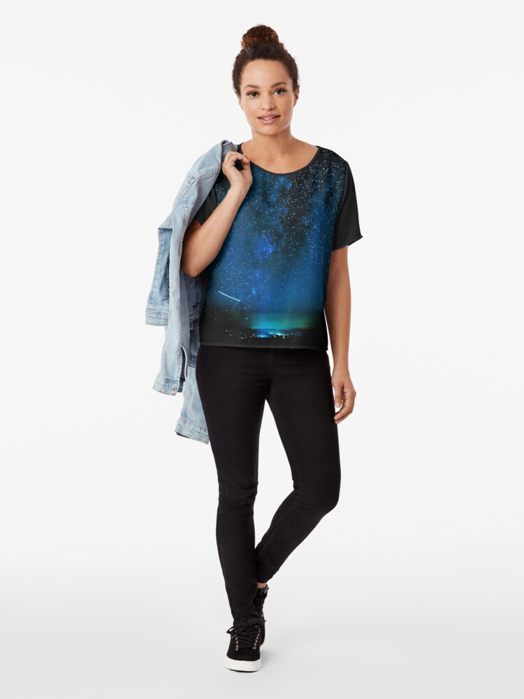 Alternate view of Stars and Space Night Sky - Blue Starry Milky Way in Arizona Chiffon Top