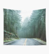 Forest Road Trip - Foggy Day Fir Trees Pacific Northwest Adventure Tapestry