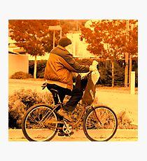 ridin a bike. Photographic Print