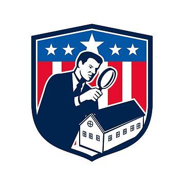 American School Inspector  USA Flag Icon Retro by patrimonio