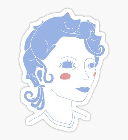 Cat Hair Girl Glossy Sticker