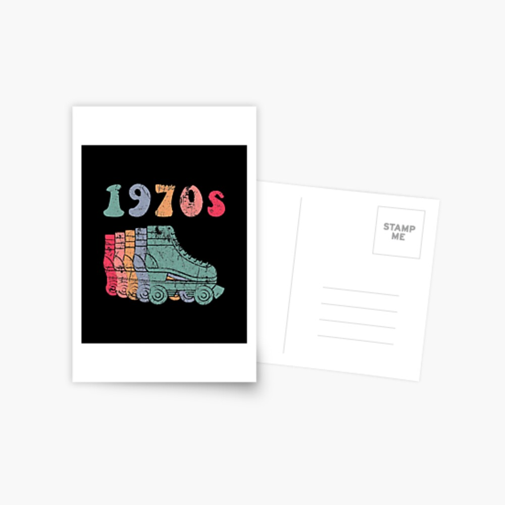 70er Jahre Rollschuhe Disco Derby Retro Postkarte