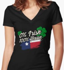 0% Irish 100% Texan T Shirt Women's Fitted V-Neck T-Shirt