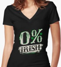 0% Irish T Shirt Women's Fitted V-Neck T-Shirt