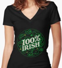 100% Irish T Shirt Women's Fitted V-Neck T-Shirt