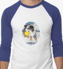 Frisbee Dog ~ Australian Shepherd ~ t-shirt & Sticker Men's Baseball ¾ T-Shirt