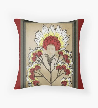 Red Flowers Bride Throw Pillow