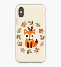Little Fox with Autumn Berries iPhone Case