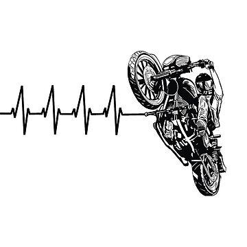 Motorcyclist Motorbiker Heartbeat Design by kudostees