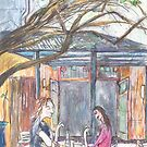 Afternoon at the Italian Café in Leichhardt by John Douglas