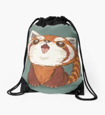 Red panda happy Drawstring Bag