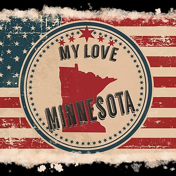 Minnesota Vintage Retro US American Flag Design in Distress Look by Flaudermoon