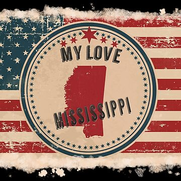 Mississippi Vintage Retro US American Flag Design in Distress Look by Flaudermoon