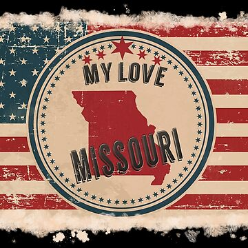 Missouri Vintage Retro US American Flag Design in Distress Look by Flaudermoon